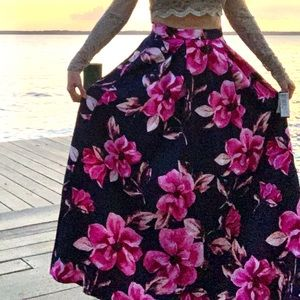 Speechless Floral Satin Skirt Maxi